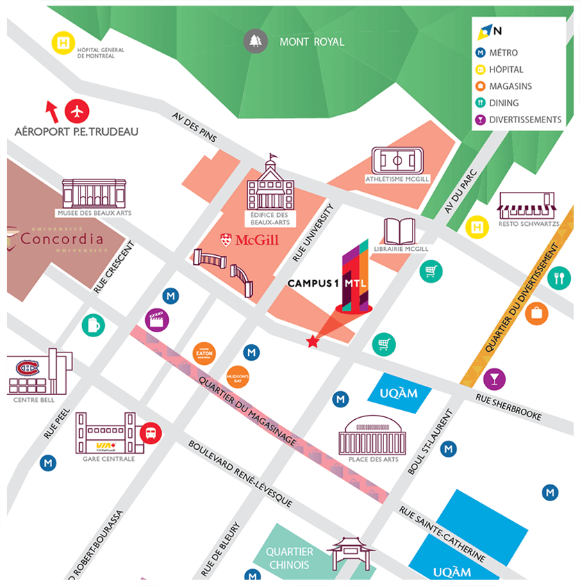 Campus1 MTL location map. Student living across the street from McGill University.